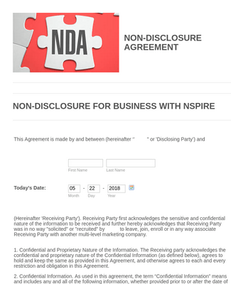 NSPIRE NON-DISCLOSURE AGREEMENT