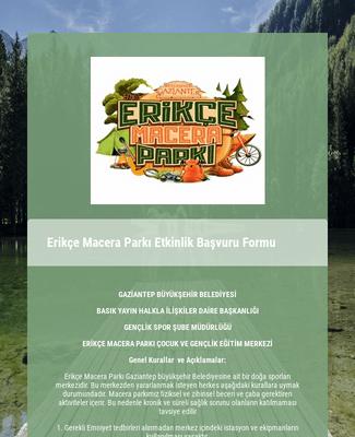 Erikçe Macera Parkı Etkinlik Başvuru Formu