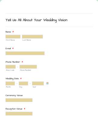 Wedding Flowers Intake Form