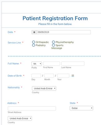 Orthosports Medical Center - Patient Registration Form
