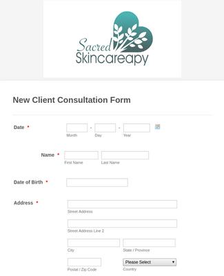 Skin Care Consultation Form