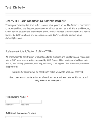 HOA Architectural Change Request