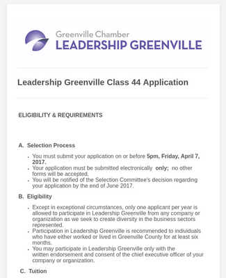 Leadership Greenville Class 44 Application