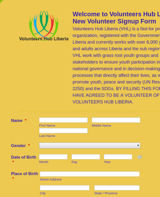 Volunteers Hub Liberia New Volunteer SignUp Form