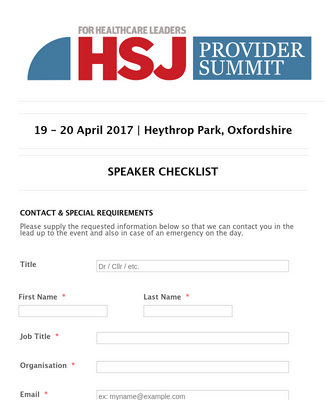 HSJ Provider Summit 2017 - Speaker Checklist