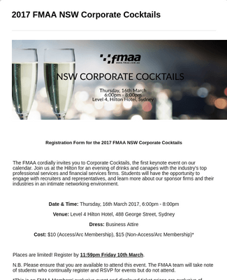 2017 FMAA NSW Corporate Cocktails Registration Form