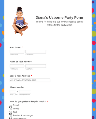 Diana's Facebook Party Form