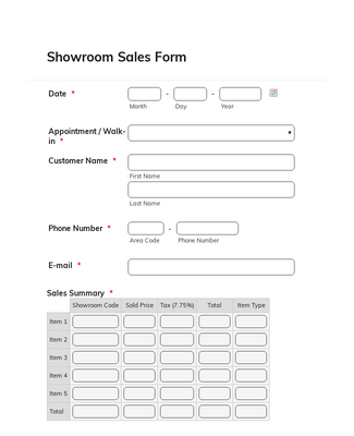 Showroom Sales Form 2