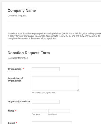 KABA Charity Request Template