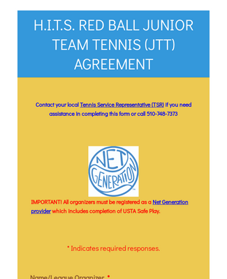 H.I.T.S Red Ball Junior Team Tennis (JTT) Agreement