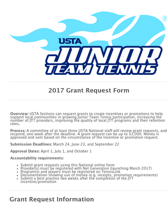 2017 USTA Junior Team Tennis Grant Request Form