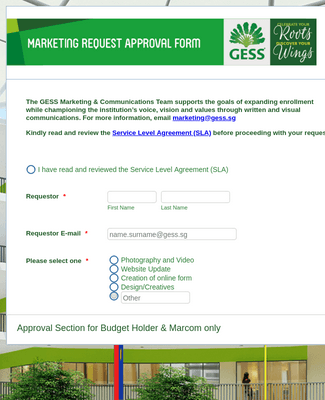 GESS Marketing Request Approval Form