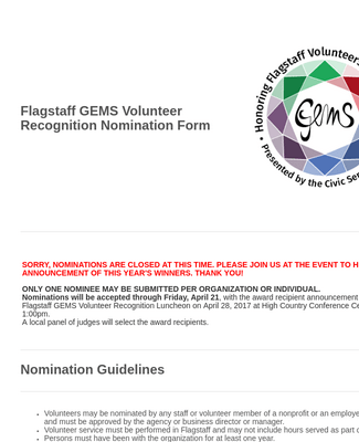 GEMS Volunteer Nomination Form