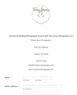 Wedding Photography Contract and Agreement