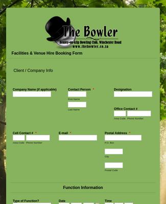 The Bowler - Facilities & Venue Hire Booking Form