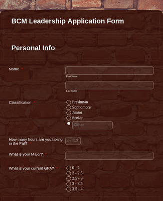 Ministry Leadership Application Form