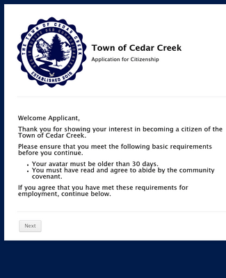 Town of Cedar Creek Citizen Application