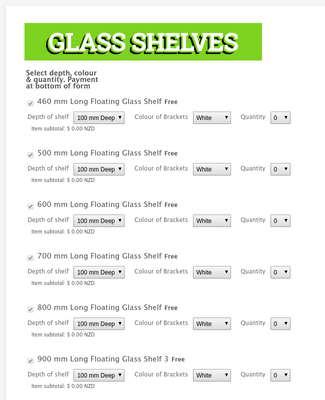 Glass purchase form