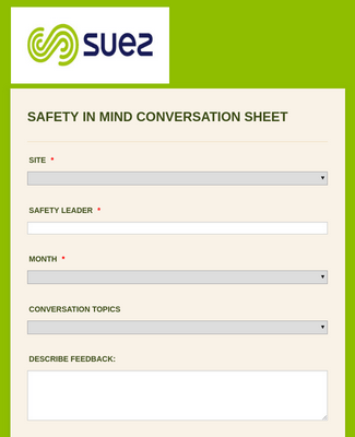 SAFETY IN MIND CONVERSATION SHEET