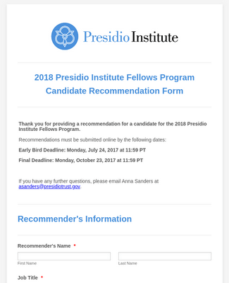 2018 Presidio Institute Fellows Program Recommendation Form