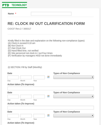 CLOCK IN/ OUT CLARIFICATION FORM