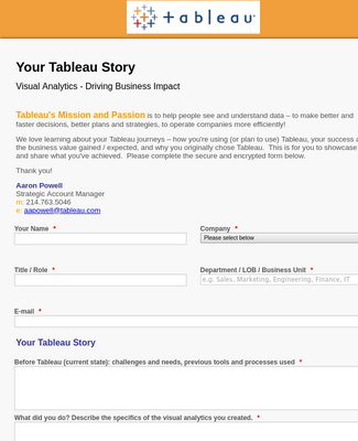 Tableau Customer Survey