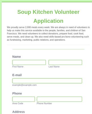Soup Kitchen Volunteer Application