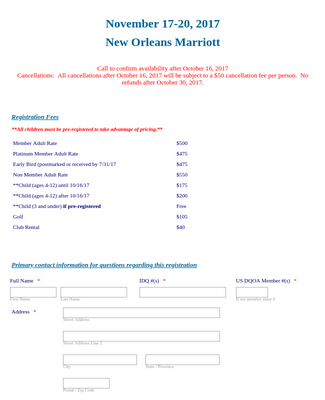 Convention Event Registration Form