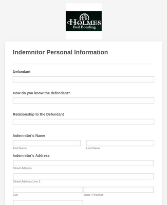 Indemnitor Personal Information