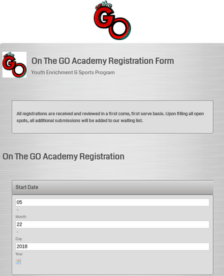 Academy Registration Formon the go