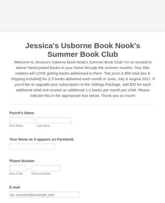 Summer Book Club Registration Form