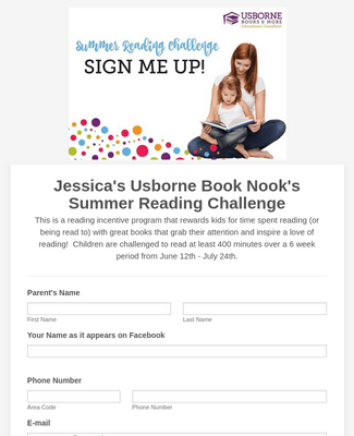 Summer Reading Challenge 2017 Registration Form