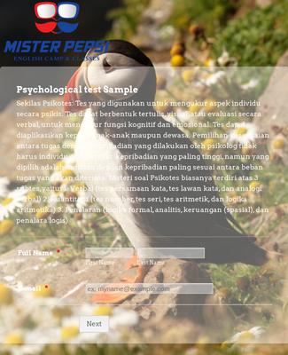 Psycho Test Form