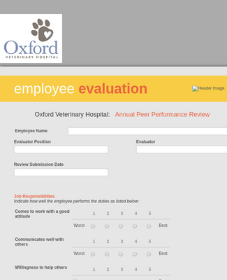 Annual Peer Performance Evaluation Form