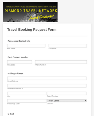 Travel Booking Request Form