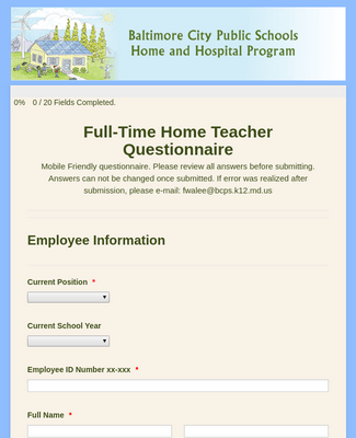 Full-Time Home and Hospital Questionnaire