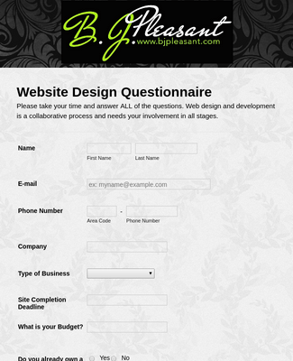 Website Design and Development Form