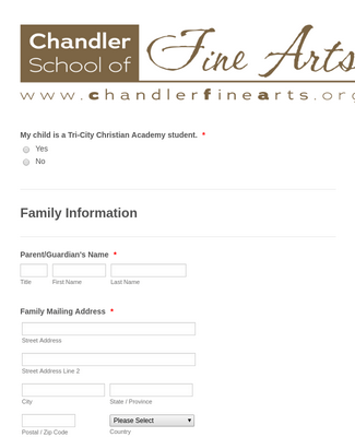 Fine Arts Community Registration Form