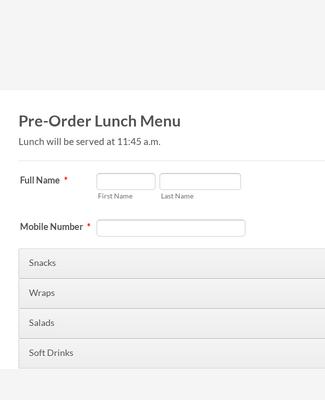 Seminar Lunch Menu