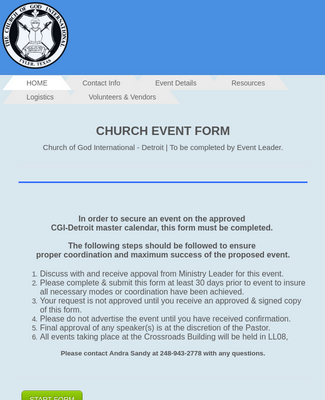 Church Event Request Form