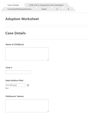 Out of Wedlock Adoption Worksheet