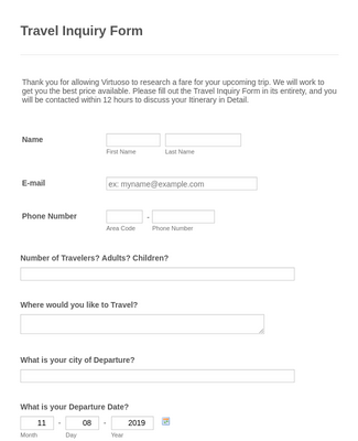 Travel Inquiry Form