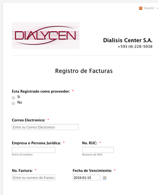 Invoice Form for Dialycen in Spanish
