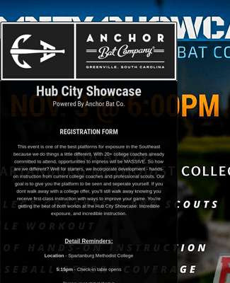 Hub City Showcase Registration Form