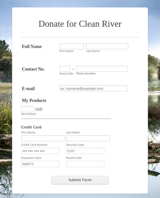 Square Donate for Clean River Form