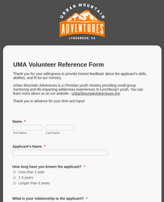 UMA Volunteer Reference Form