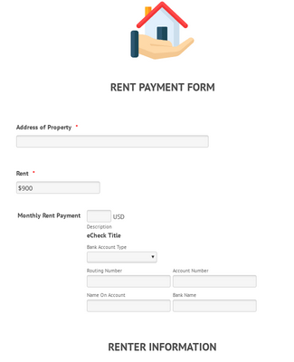 eCheck.Net Rent Payment Form