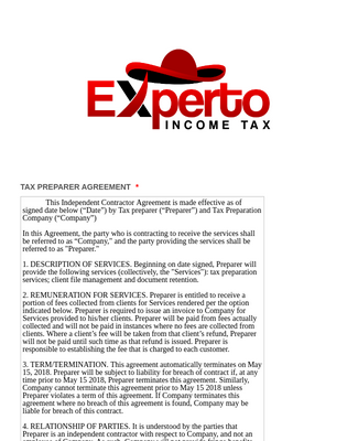 TAX PREPARER AGREEMENT - EXPERTO