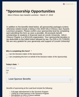Chesco 2018 Sponsorship Form