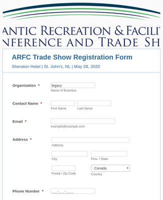 ARFC Trade Show Exhibitor Registration Form